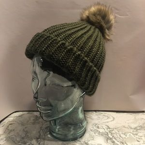 Hand Knitted Dark Green Knitted Hat w/ Brown Puff